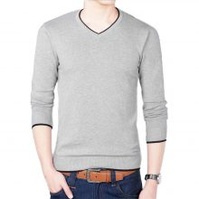 2018 Autumn And Winter New Men's Long-sleeved Sweater Slim V-neck Pure Color Men's Business Casual Sweater