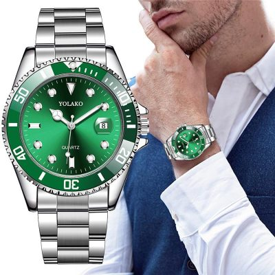 Hot Sales Mens Watches Top Brand YOLAKO Luxury Men Fashion Military Stainless Steel Date Sport Quartz Analog Wristwatch Relogio